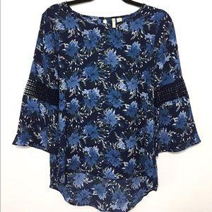 Navy blue w/blue flowers blouse